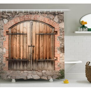 Wooden Tuscany Stone House Shower Curtain