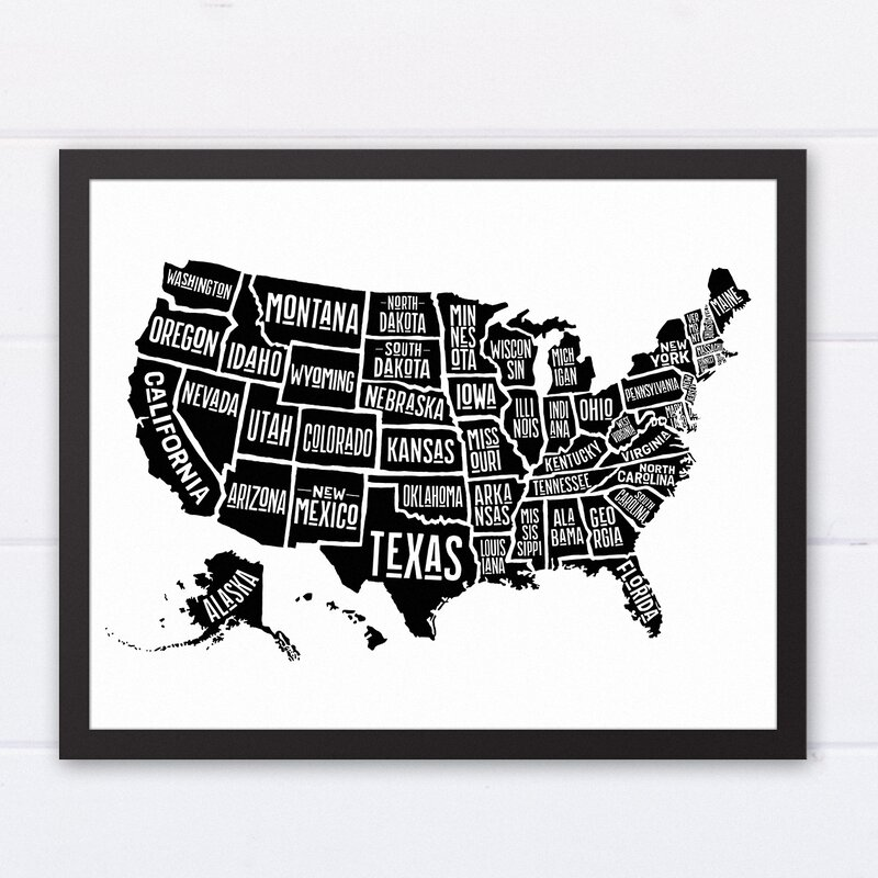 Wrought Studio \'Simple United States World Map\' Framed Graphic Art ...