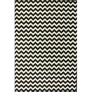 Cunningham Chevron White/Black Area Rug