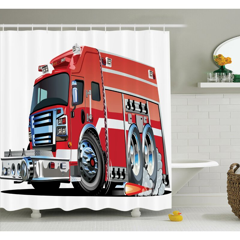 Latitude Run Myaa Fire Truck Rescue Team Shower Curtain Set