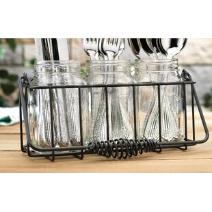 4 Piece In and Out Flatware Caddy Set  sc 1 st  Wayfair & Mason Jar Flatware Caddy   Wayfair