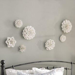 7 Piece Garden Flower Porcelain Wall Décor Set