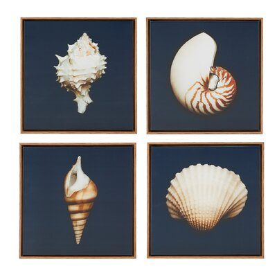 Highland Dunes 'Ocean Blue 4 Piece' Framed Photographic Print on Wrapped Canvas