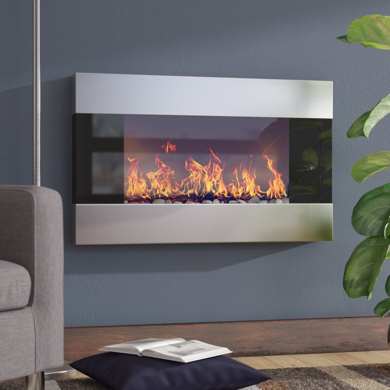 Wade logan clairevale wall mounted electric fireplace reviews wayfair for Electric wall fireplace bedroom