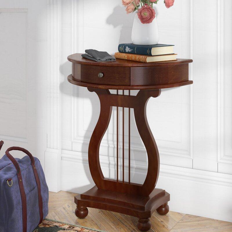 Charlton Home Dufresne Half Moon Harp Console Table