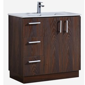 35″ Bathroom Vanity with Ceramic Sink in Brown Elm Wood Texture Finish