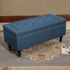 Vanguilder Blue Tufted Rectangular Storage Ottoman by Alcott Hill