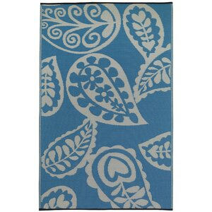 Paisley River World Blue & White Indoor/Outdoor Area Rug