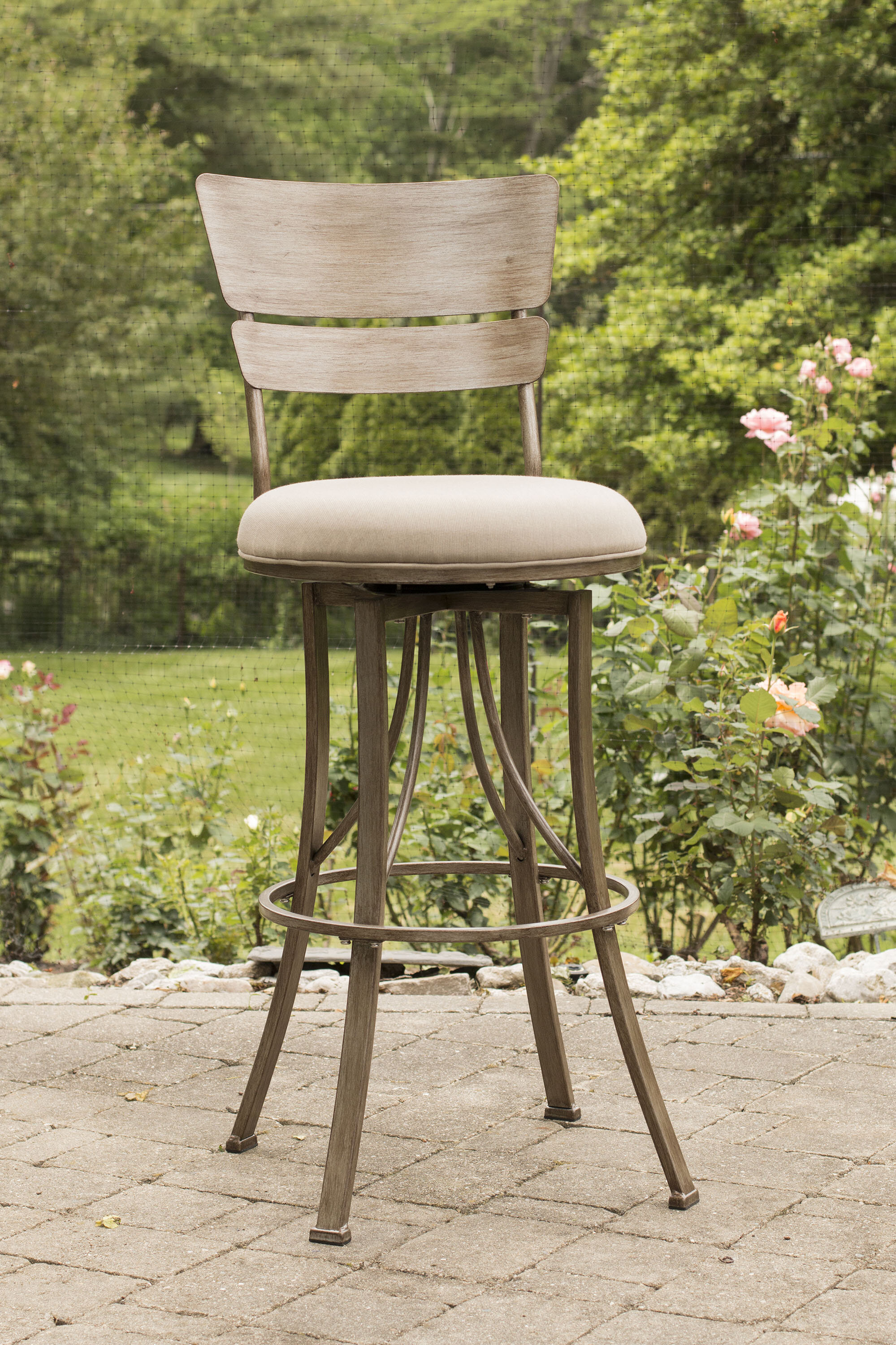 August Grove Ilyana 30 Swivel Indoor Outdoor Patio Bar Stool Reviews Wayfair