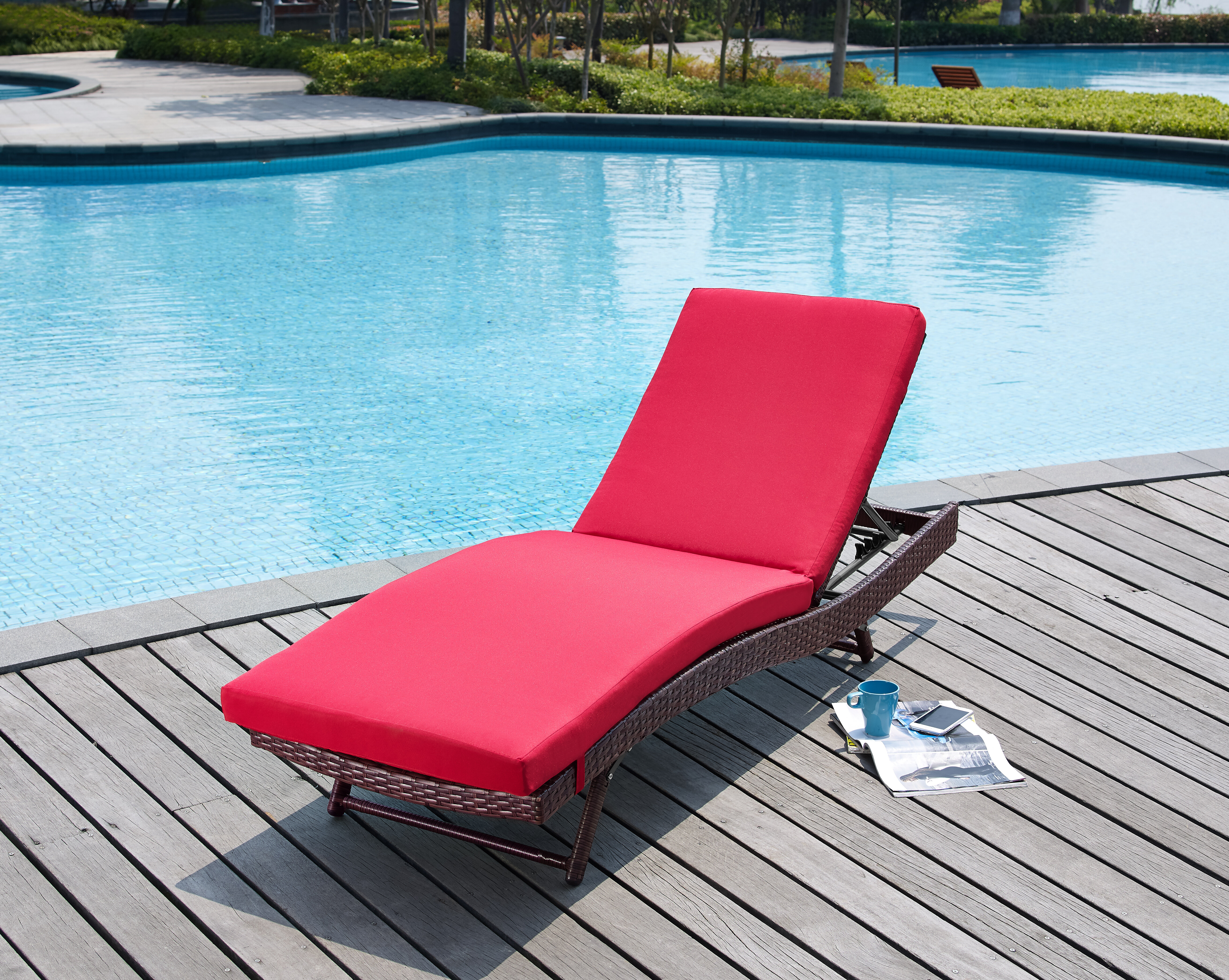 Mercury Row Prudence Reclining Patio Chaise Lounge with Cushion
