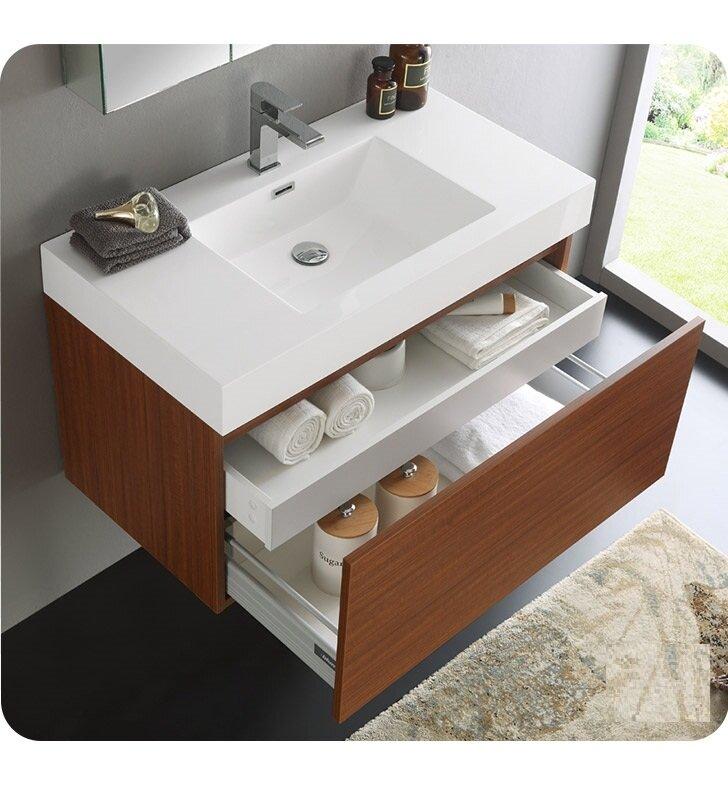 "Modern Bathroom Vanity And Sink fresca senza 36"" mezzo single wall mounted modern bathroom vanity"