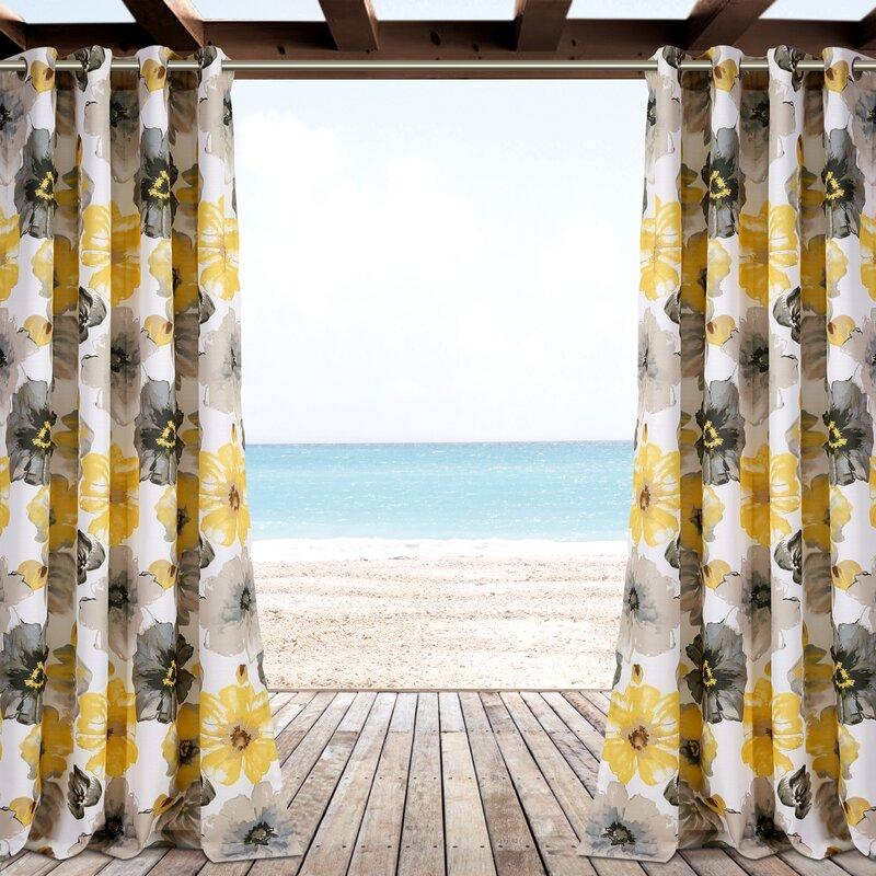 Sikora Nature Floral Indoor Outdoor Grommet Curtain Panels Reviews