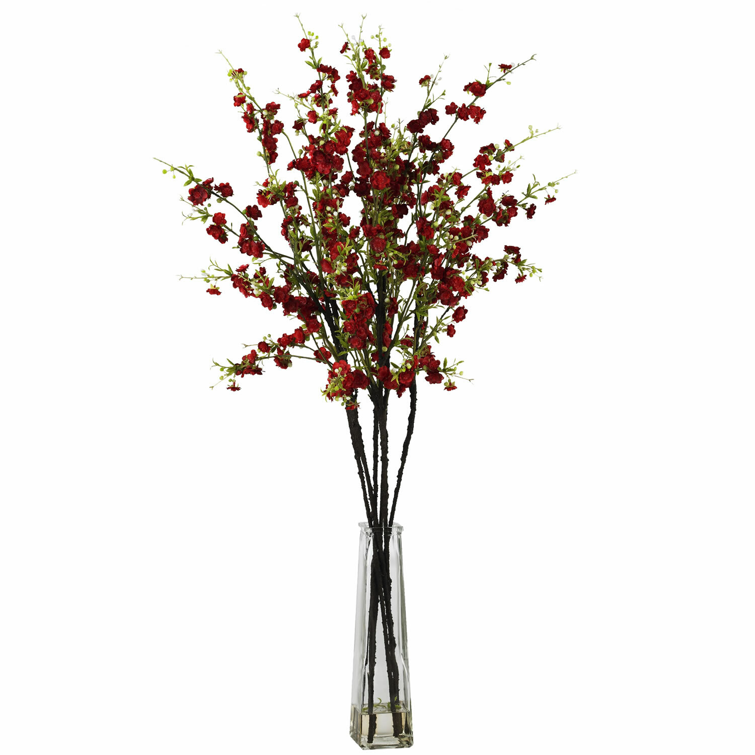 Nearly Natural Cherry Blossoms With Vase Silk Flower Arrangement In