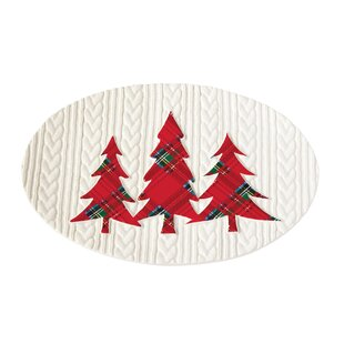 tartan tree cable knit serving platter by mud pie