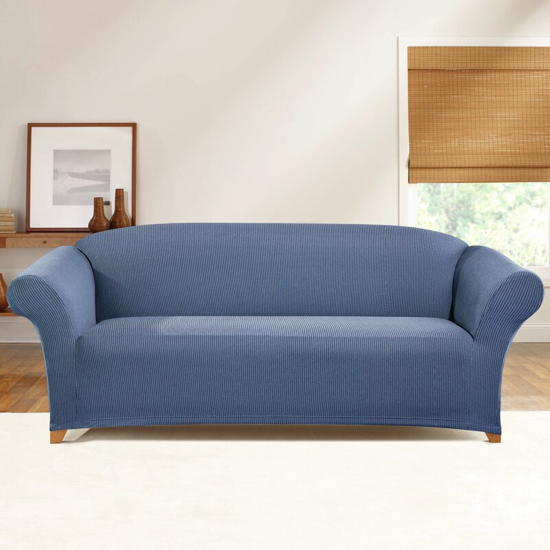 sure fit simple stretch ticking stripe box cushion sofa. Black Bedroom Furniture Sets. Home Design Ideas