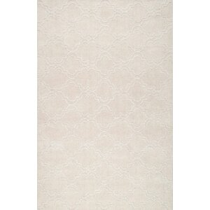 Alonza Hand-Woven Cream Wool Area Rug
