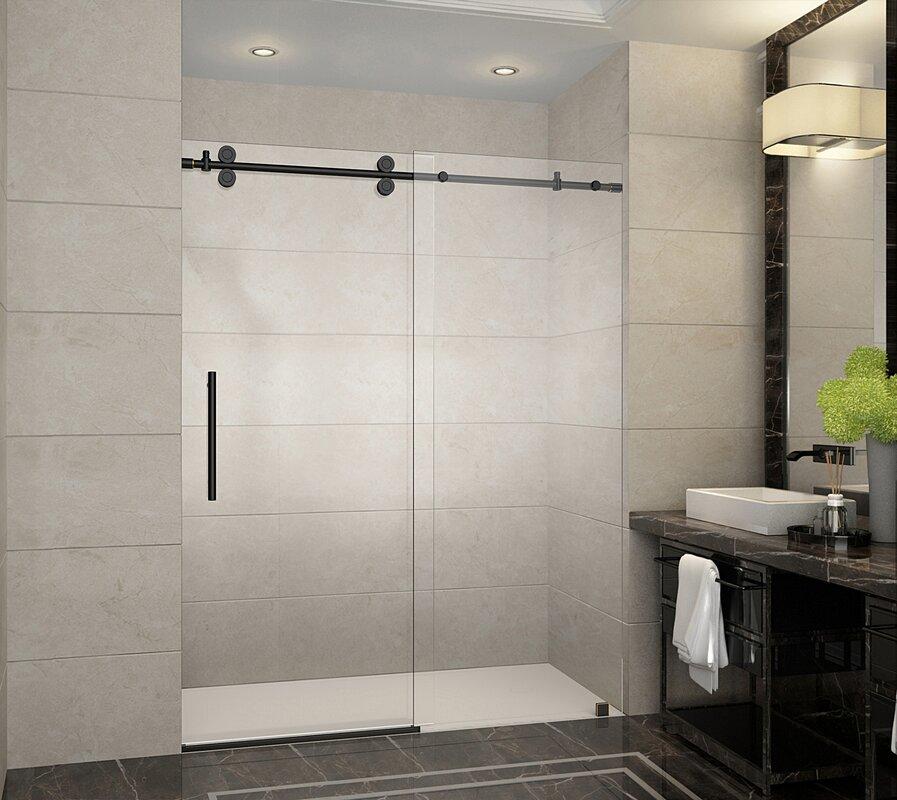 Aston Langham Single Sliding Frameless Shower Door Amp Reviews Wayfair