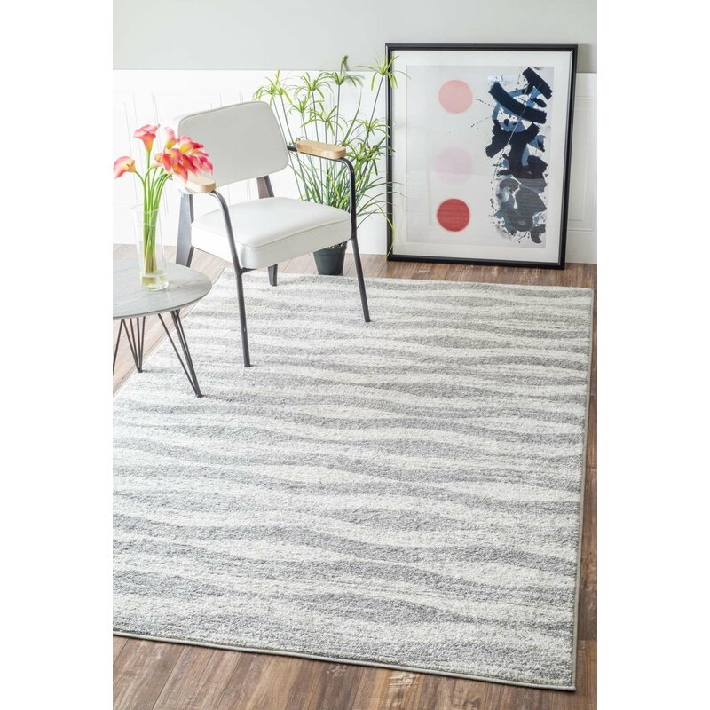 Delicieux Lada Abstract Waves Gray/White Area Rug