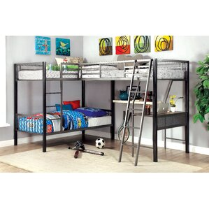 earline twin over twin lshaped bunk bed with storage and display shelf