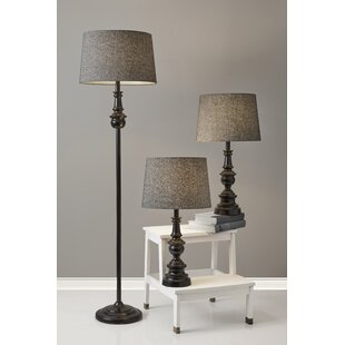3 lamp set gardens chiu classic herringbone containing matching piece table and floor lamp set gray shade lamps birch lane
