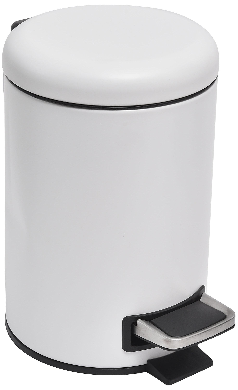 Evideco Soft Close Small Round Bathroom Floor 0.8 Gallon Step On Trash Can | Wayfair