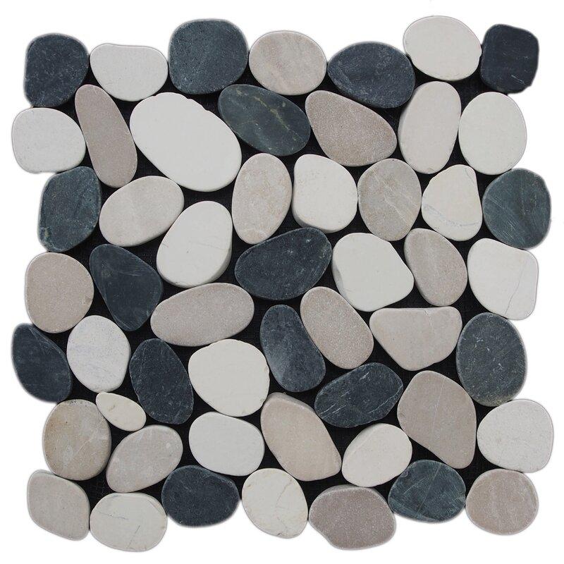 Sliced Pebble Random Sized Natural Stone Tile In Black White