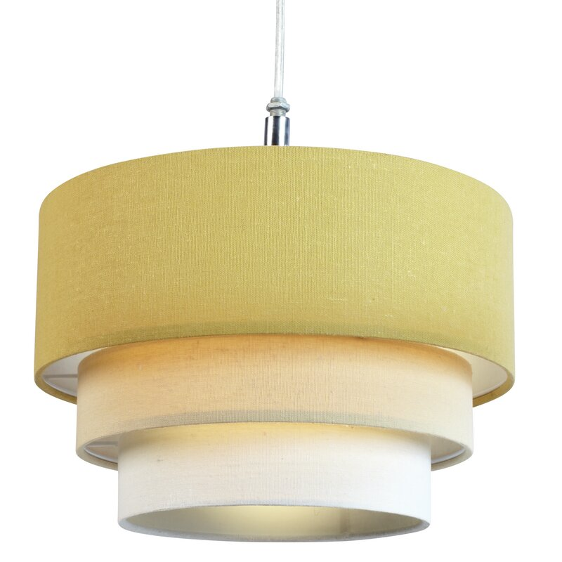 Symple stuff 28cm polycotton drum pendant shade reviews for Dayroom yellow bedroom