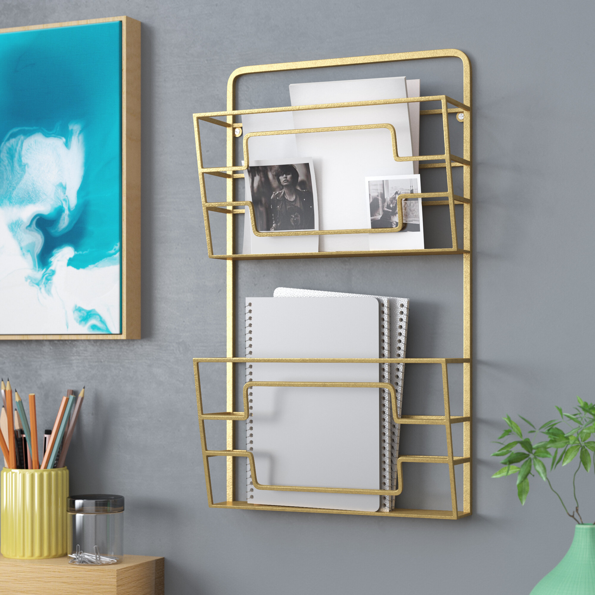 ebay iron uma magazine basket gold wall mounted rack modern tier p