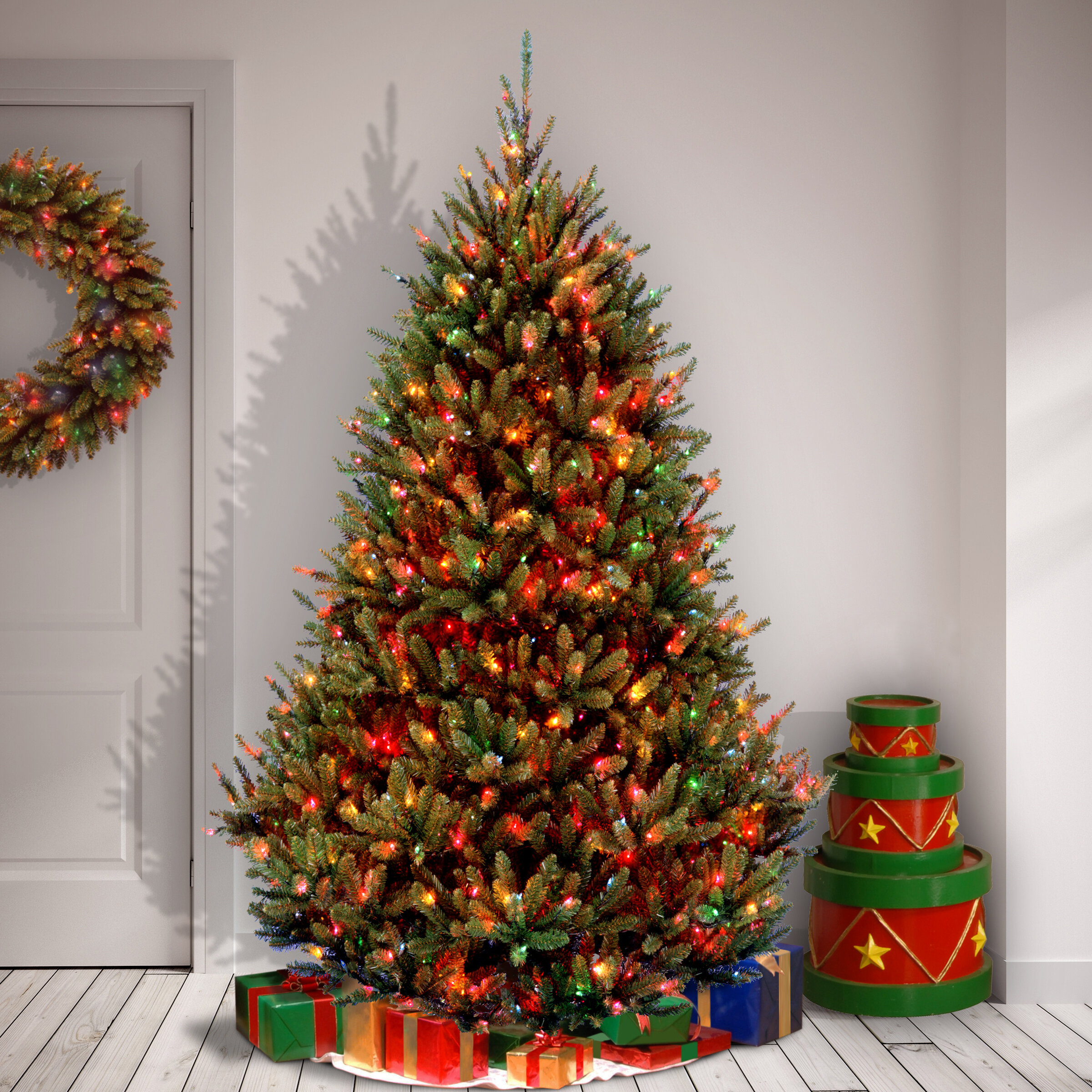 National Tree Co. Natural Fraser 7.5' Green Fir Artificial Christmas Tree with 1000 Multi-Colored Lights & Reviews | Wayfair
