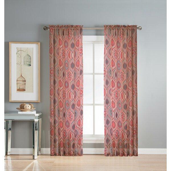 Window Elements Olivia Geometric Sheer Rod Pocket Single Curtain ...