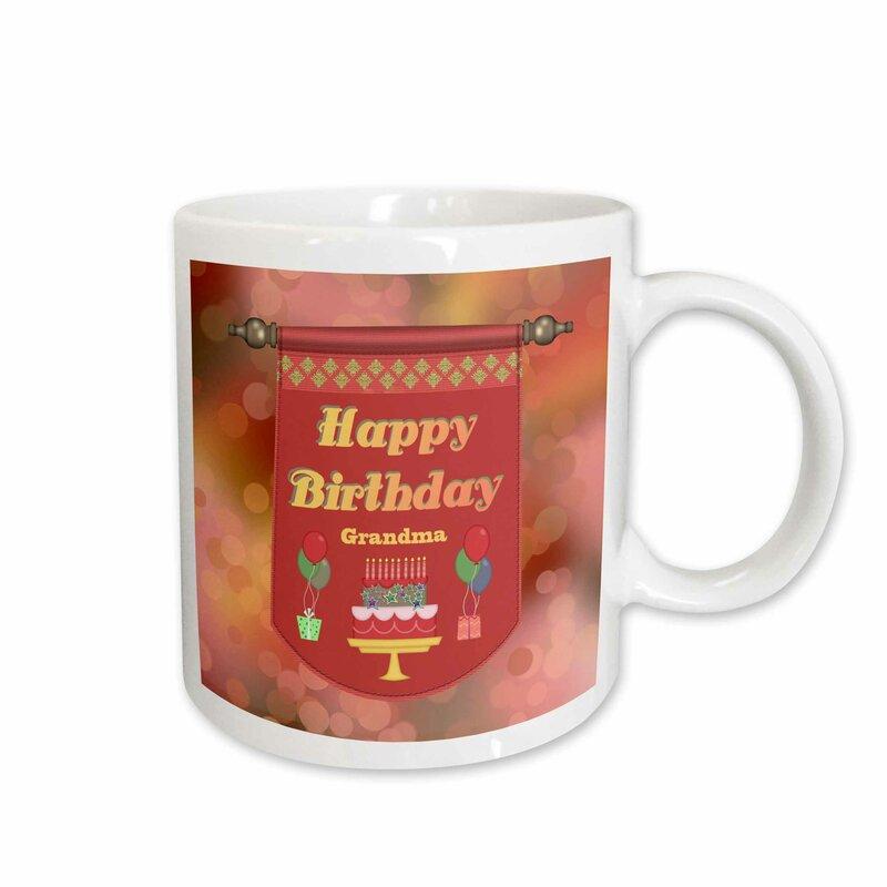 Happy Birthday Grandma Banner Cake With Gifts And Balloons Coffee Mug