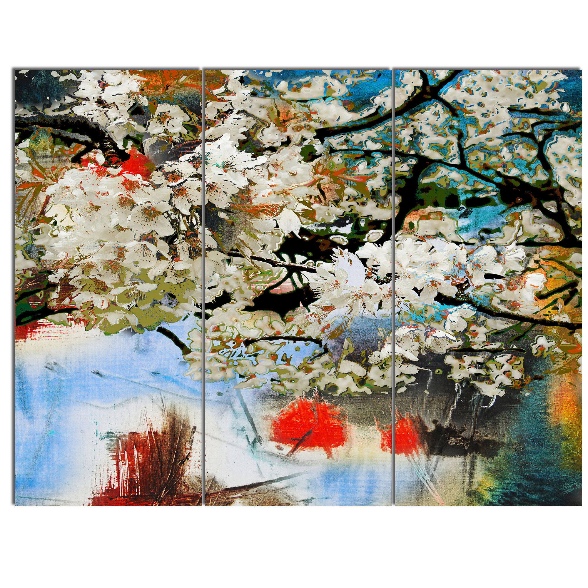 Designart Spring Motif With Small White Flowers 3 Piece Painting