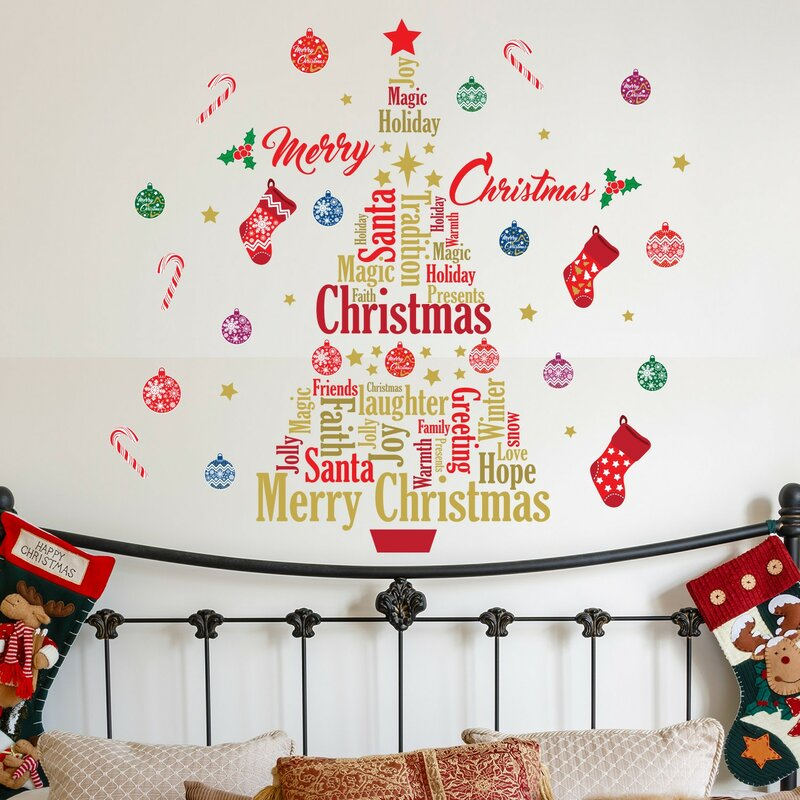 english quotes merry christmas tree wall decal - Christmas Decoration Quotes