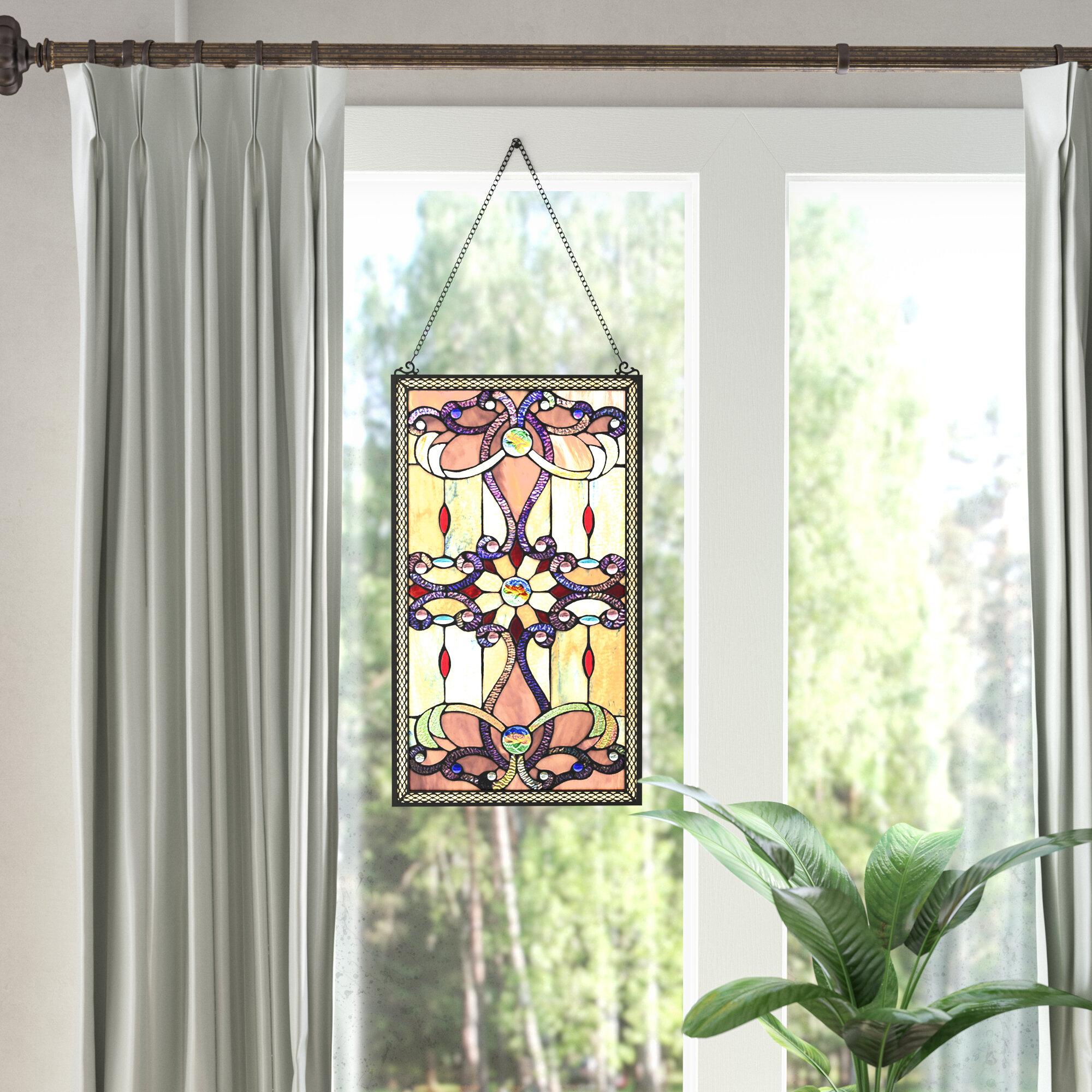 Astoria Grand Ludington Tiffany Style Stained Gl Window Wall Panel Reviews Wayfair