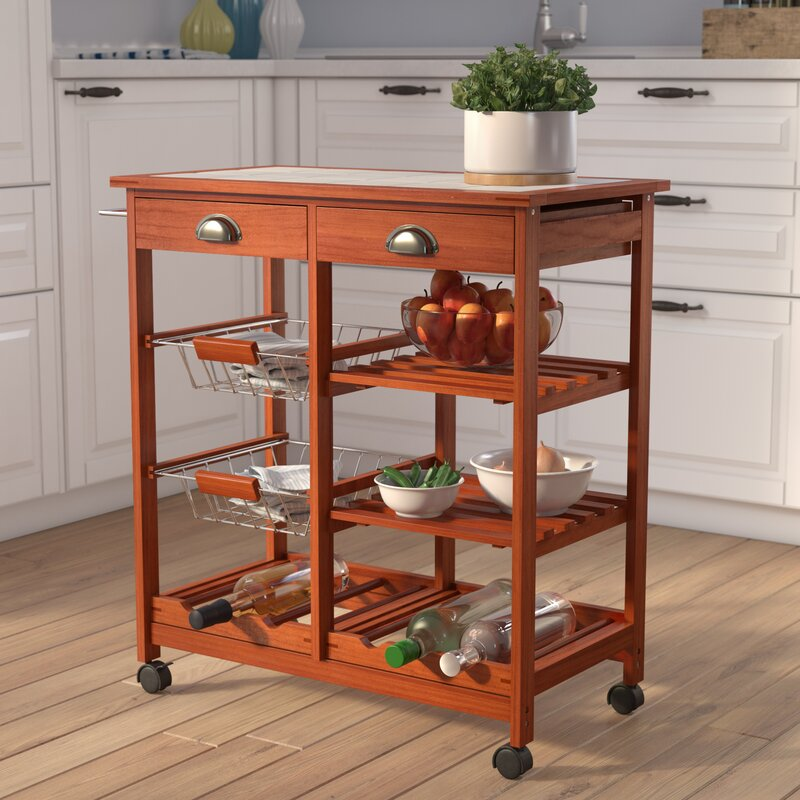 & Winston Porter Kitchen Cart with Tile Top \u0026 Reviews | Wayfair.ca
