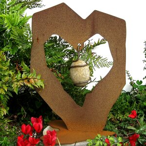 Rock Solid Heart with Stone Statue