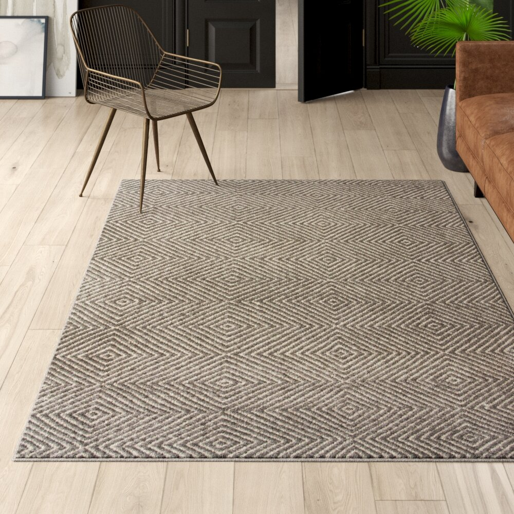 Flat Woven Wool Cotton Gray Area Rug