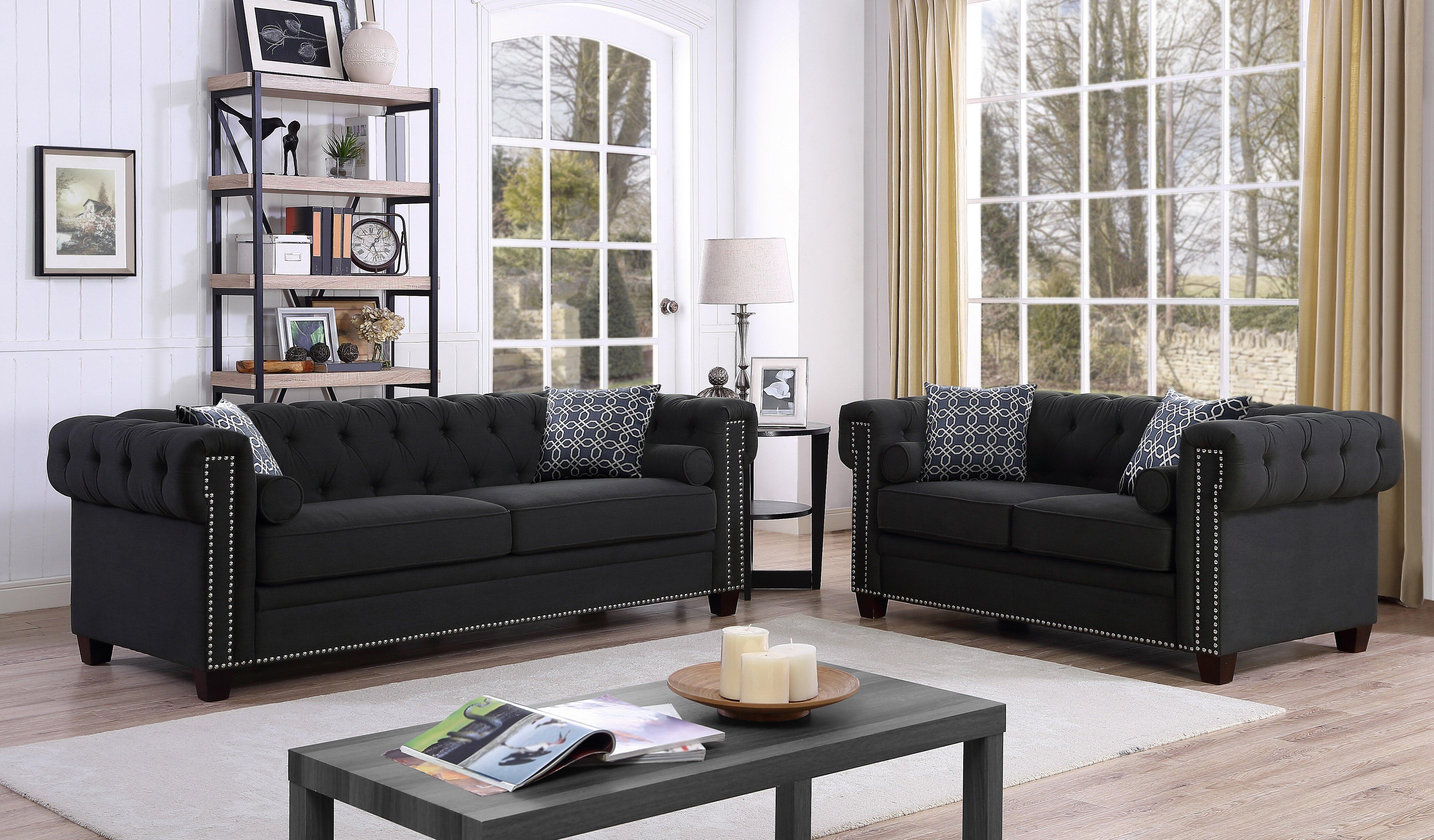 Canora grey quan chesterfield nailhead 2 piece living room set wayfair