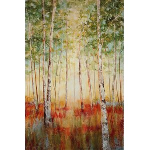 'Birch Woods' by Nan Painting Print on Wrapped Canvas