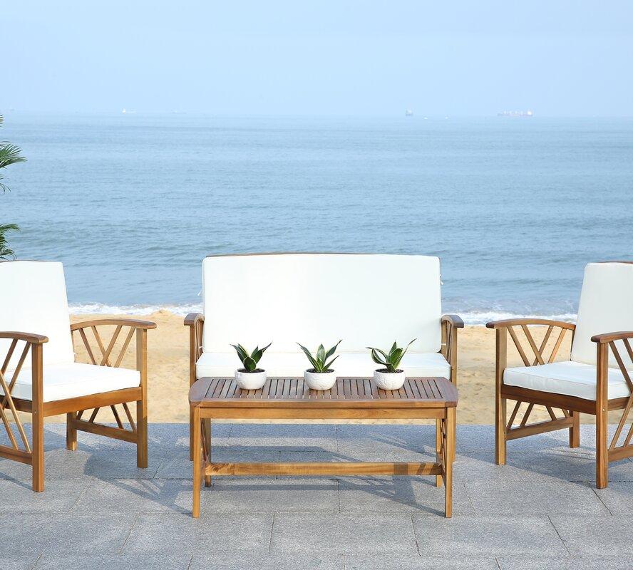 Safavieh Fontana 4 Piece Seating Group with Cushions ... on Safavieh Fontana Patio Set id=27422