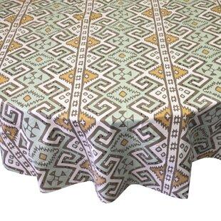Charmant Danae Aztec Print Heavyweight Round Vinyl Tablecloth