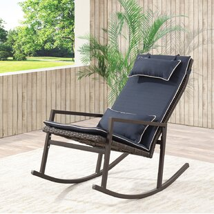 Tremberth Outdoor Rattan Wicker Rocking Chair With Cushion