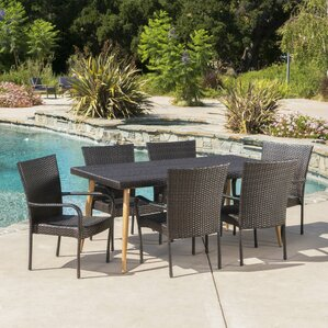 Narragansett Outdoor Wicker 7 Piece Dining Set