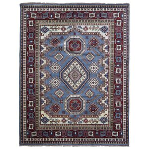 Furiani Kazak Hand-Woven Wool Blue/Red Area Rug