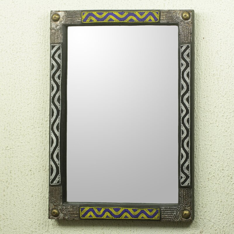 Novica Ahoufe II African Beaded Wood Frame Wall Mirror with Metal ...