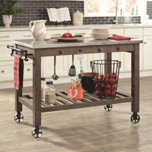 Nyampong Charmed Wooden Kitchen Island with Metal Casters