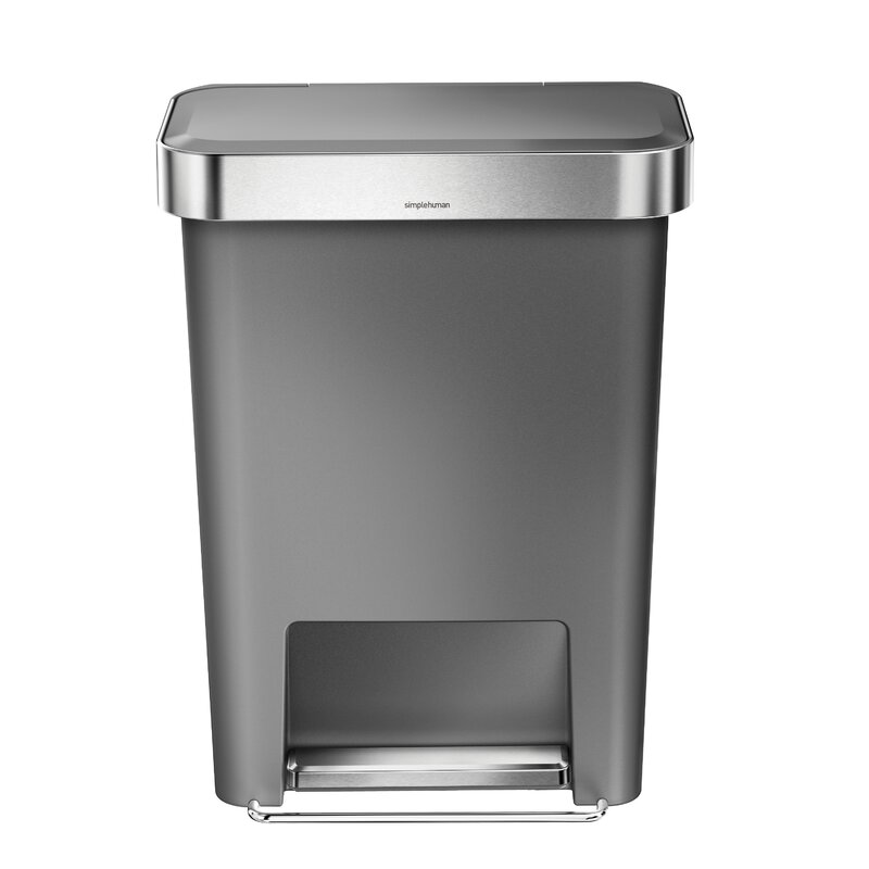 11 9 Gallon Rectangular Step Trash Can With Liner Pocket Plastic