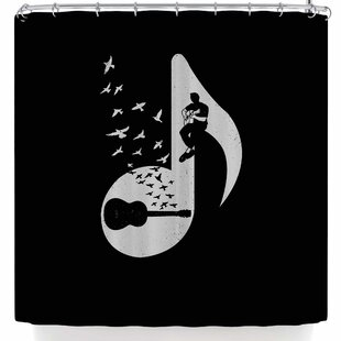 barmalisirtb musical note acoustic guitar shower curtain - Musical Shower Curtains
