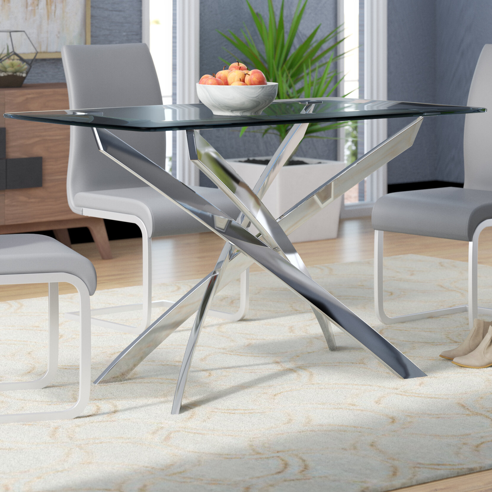 Wade Logan Coraline Glass Top Modern Dining Table U0026 Reviews | Wayfair