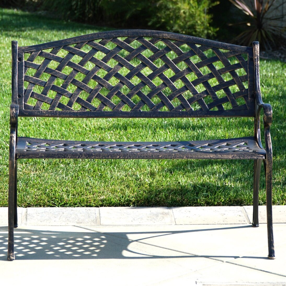 Fleur De Lis Living Buckley Cast Aluminum Park Bench | Wayfair